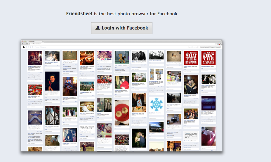 FriendSheet, el pinterest de facebook