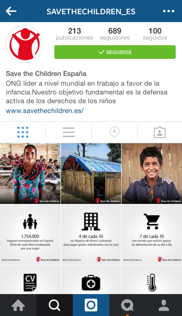 perfil save the children instagram